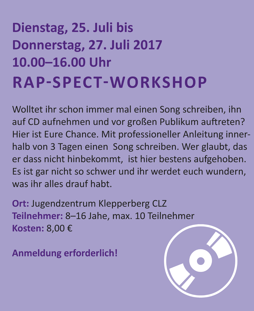 Jugendring Oberharz - 7. Rap-Spect-Workshop 25.-27.07.2017